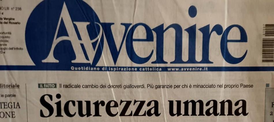 Alessandro Zannier su l'Avvenire - Agorà del 7 ottobre